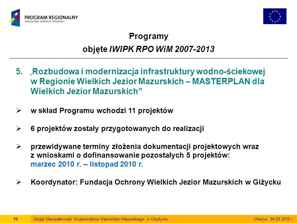 Programy objęte IWIPK RPO WiM 2007-2013 19Urząd Marszałkowski Województwa Warmińsko-Mazurskiego w Olsztynie Olsztyn, 24.03.2010 r.