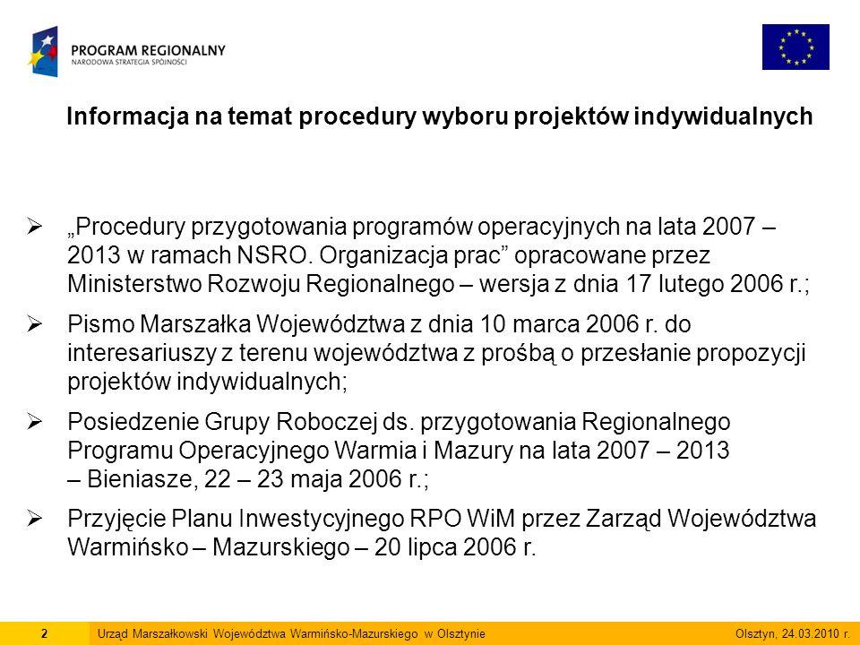 Informacja na temat procedury wyboru projektów indywidualnych 2Urząd Marszałkowski Województwa Warmińsko-Mazurskiego w Olsztynie Olsztyn, 24.03.2010 r.