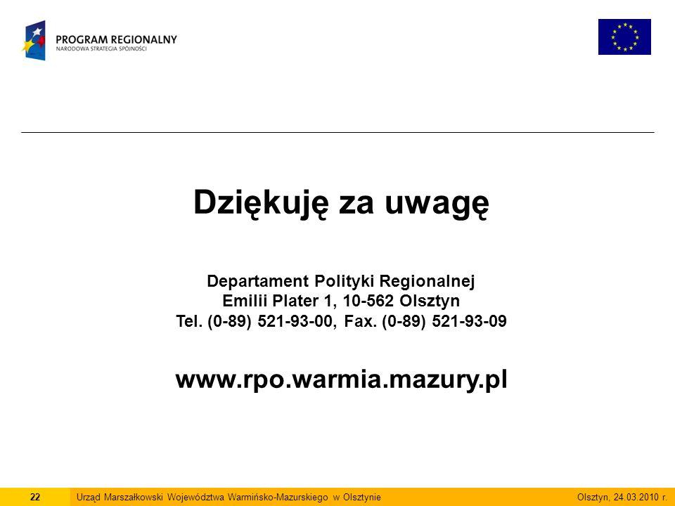 22Urząd Marszałkowski Województwa Warmińsko-Mazurskiego w Olsztynie Olsztyn, 24.03.2010 r.