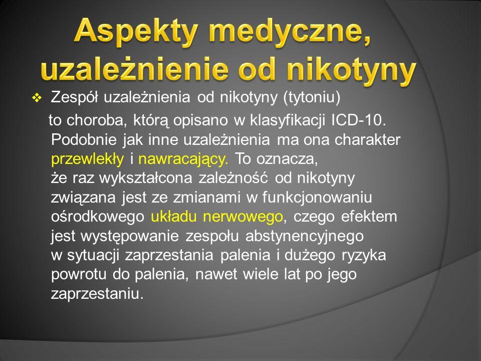  Zespół uzależnienia od nikotyny (tytoniu) to choroba, którą opisano w klasyfikacji ICD-10.
