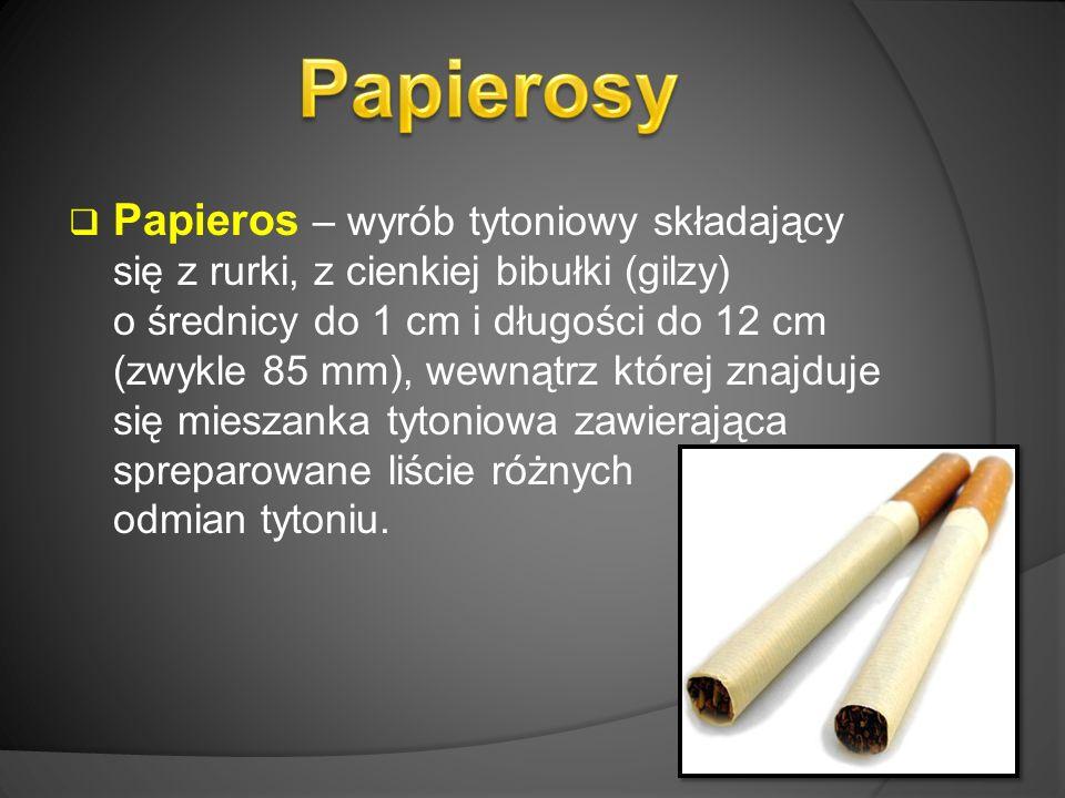  Papieros – wyrób tytoniowy składający się z rurki, z cienkiej bibułki (gilzy) o średnicy do 1 cm i długości do 12 cm (zwykle 85 mm), wewnątrz której znajduje się mieszanka tytoniowa zawierająca spreparowane liście różnych odmian tytoniu.