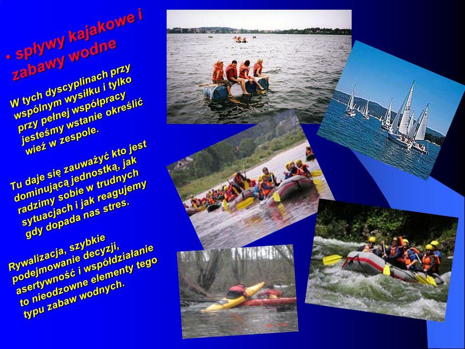 spływy kajakowe i zabawy wodne spływy kajakowe i zabawy wodne W tych dyscyplinach przy wspólnym wysiłku i tylko przy pełnej współpracy jesteśmy wstanie określić wieź w zespole.
