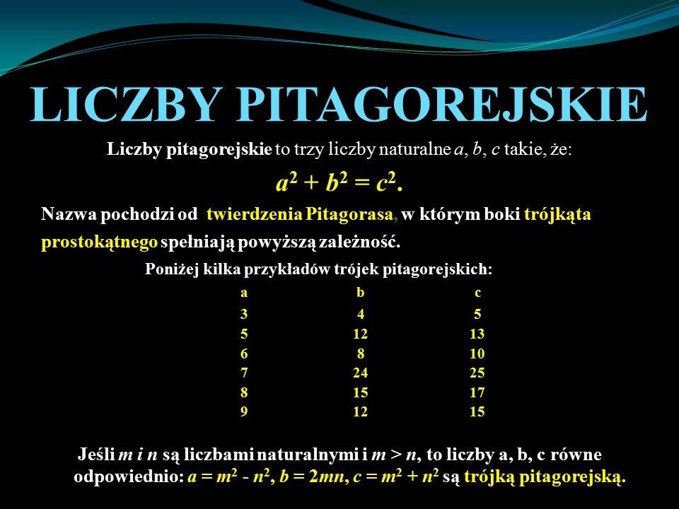 LICZBY PITAGOREJSKIE Liczby pitagorejskie to trzy liczby naturalne a, b, c takie, że: a 2 + b 2 = c 2. Nazwa pochodzi od twierdzenia Pitagorasa, w któ