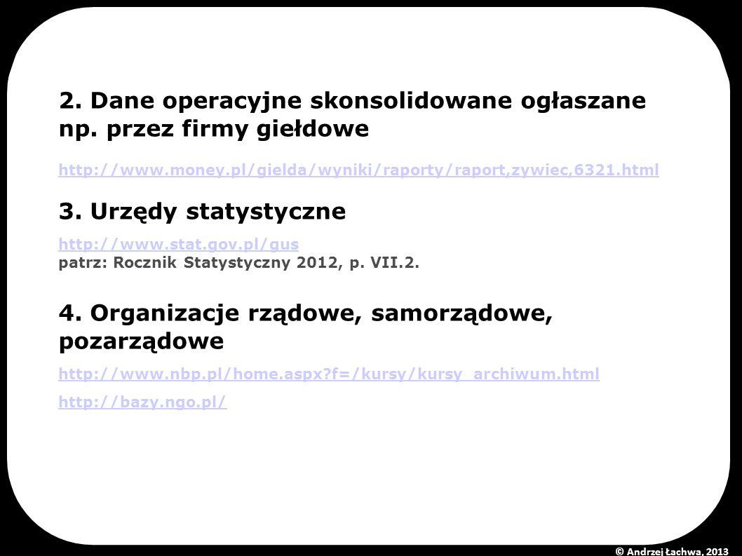 2. Dane operacyjne skonsolidowane ogłaszane np. przez firmy giełdowe http://www.money.pl/gielda/wyniki/raporty/raport,zywiec,6321.html 3. Urzędy staty