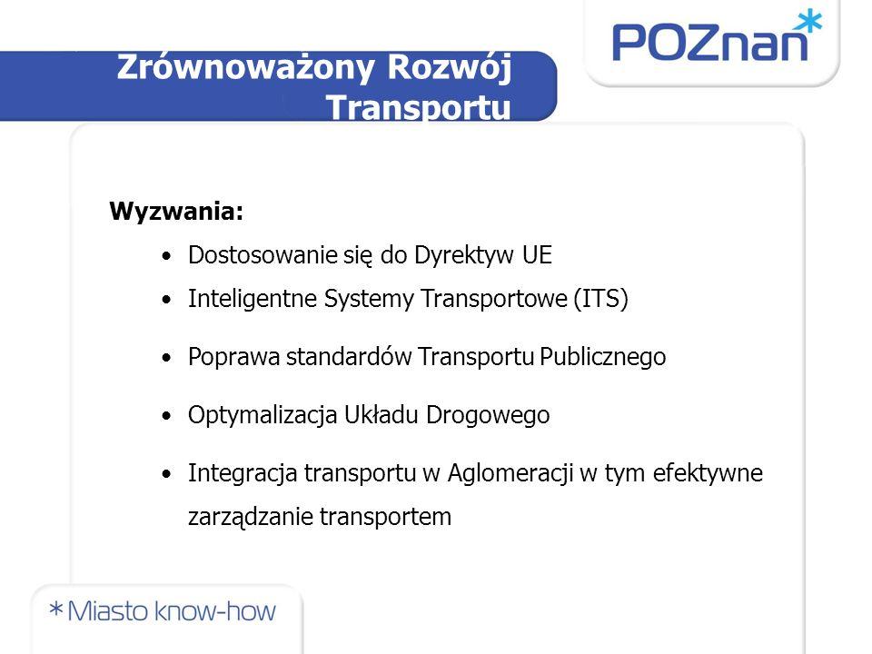 Wyzwania: Dostosowanie się do Dyrektyw UE Inteligentne Systemy Transportowe (ITS) Poprawa standardów Transportu Publicznego Optymalizacja Układu Drogowego Integracja transportu w Aglomeracji w tym efektywne zarządzanie transportem Zrównoważony Rozwój Transportu