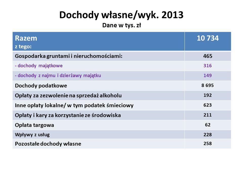 Dochody własne/wyk. 2013 Dane w tys.