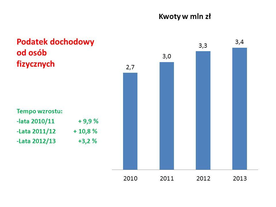 Podatek dochodowy od osób fizycznych Tempo wzrostu: -lata 2010/11 + 9,9 % -Lata 2011/12 + 10,8 % -Lata 2012/13 +3,2 %