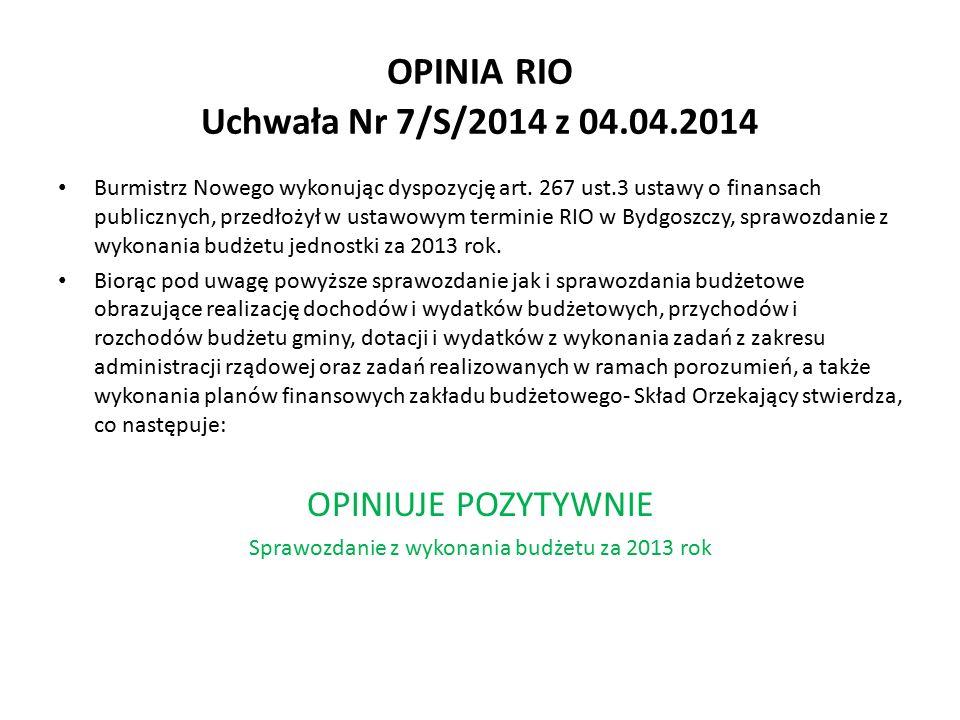 OPINIA RIO Uchwała Nr 7/S/2014 z 04.04.2014 Burmistrz Nowego wykonując dyspozycję art.