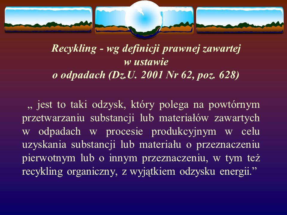 Recykling - wg definicji prawnej zawartej w ustawie o odpadach (Dz.U.