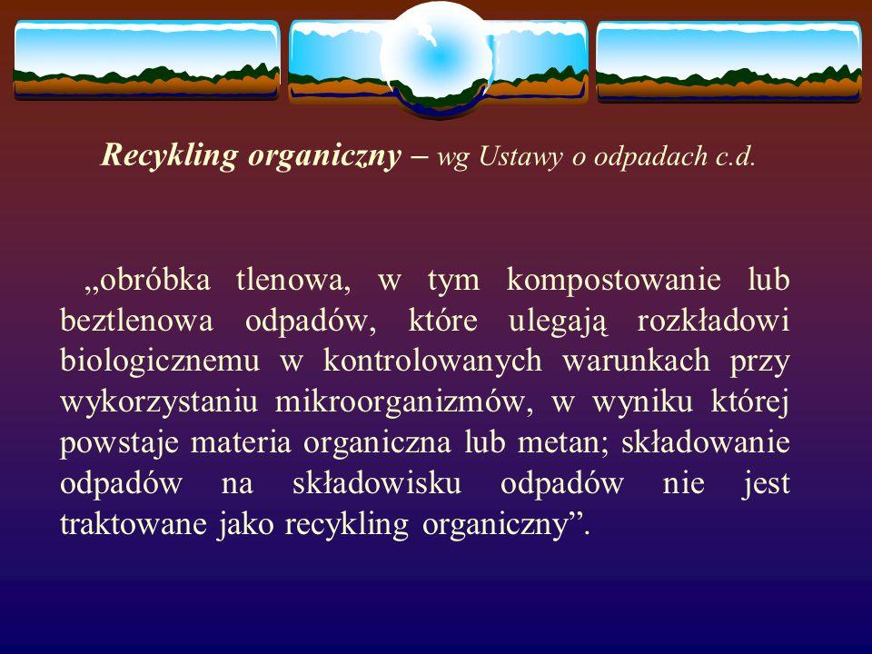 Recykling organiczny – wg Ustawy o odpadach c.d.
