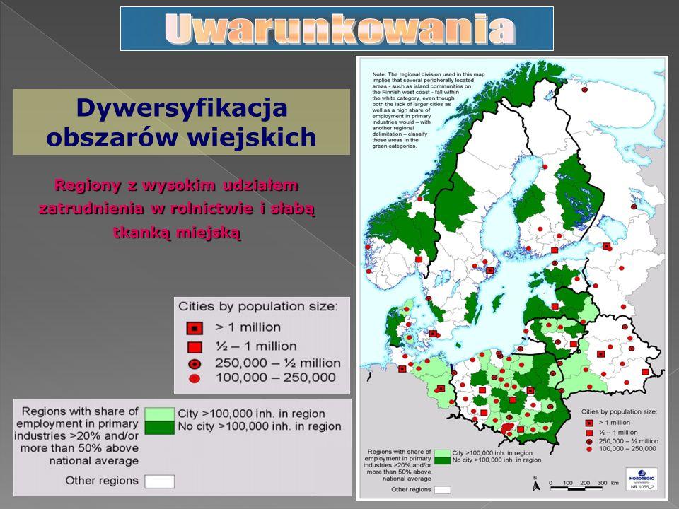 Dywersyfikacja obszarów wiejskich Regiony z wysokim udziałem zatrudnienia w rolnictwie i słabą tkanką miejską