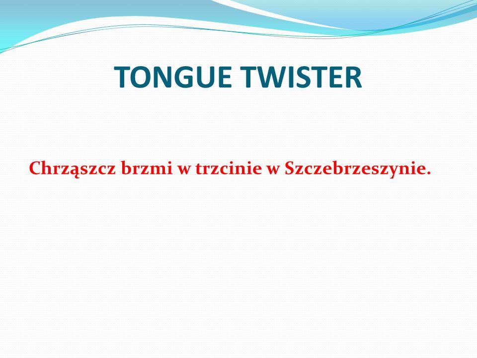TONGUE TWISTER Chrząszcz brzmi w trzcinie w Szczebrzeszynie.