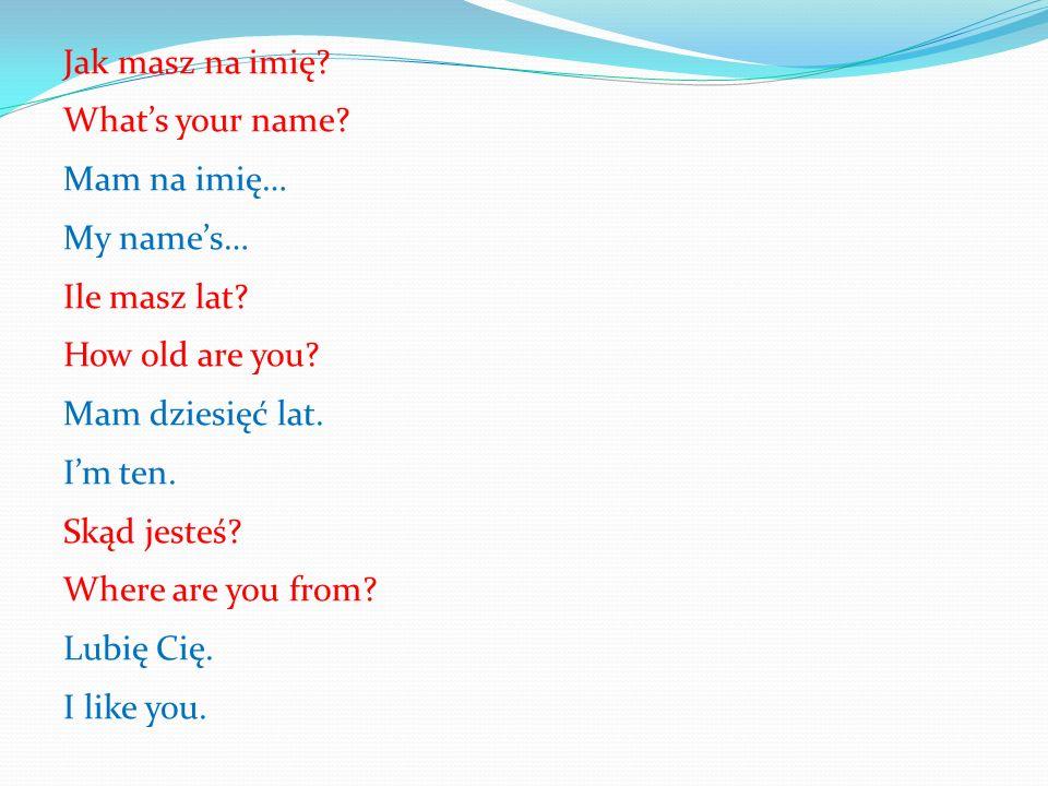 Jak masz na imię. What's your name. Mam na imię… My name's… Ile masz lat.