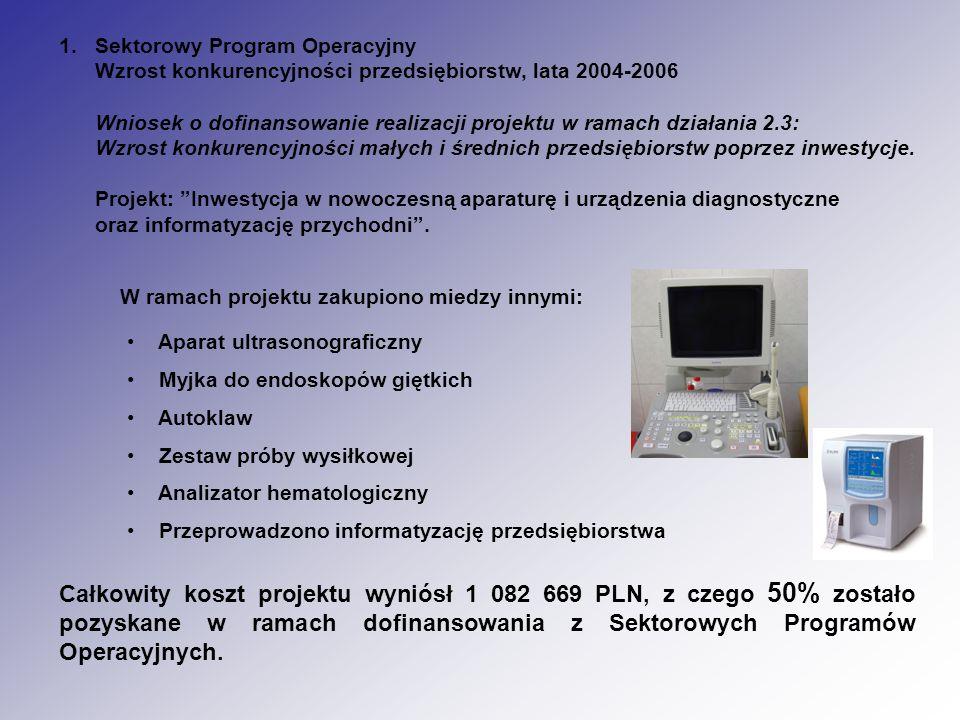 1.Sektorowy Program Operacyjny Wzrost konkurencyjności przedsiębiorstw, lata 2004-2006 Wniosek o dofinansowanie realizacji projektu w ramach działania