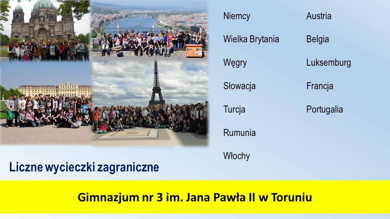 Gimnazjum nr 3 im. Jana Pawła II w Toruniu Liczne wycieczki zagraniczne Niemcy Wielka Brytania Węgry Słowacja Turcja Rumunia Włochy Austria Belgia Luk