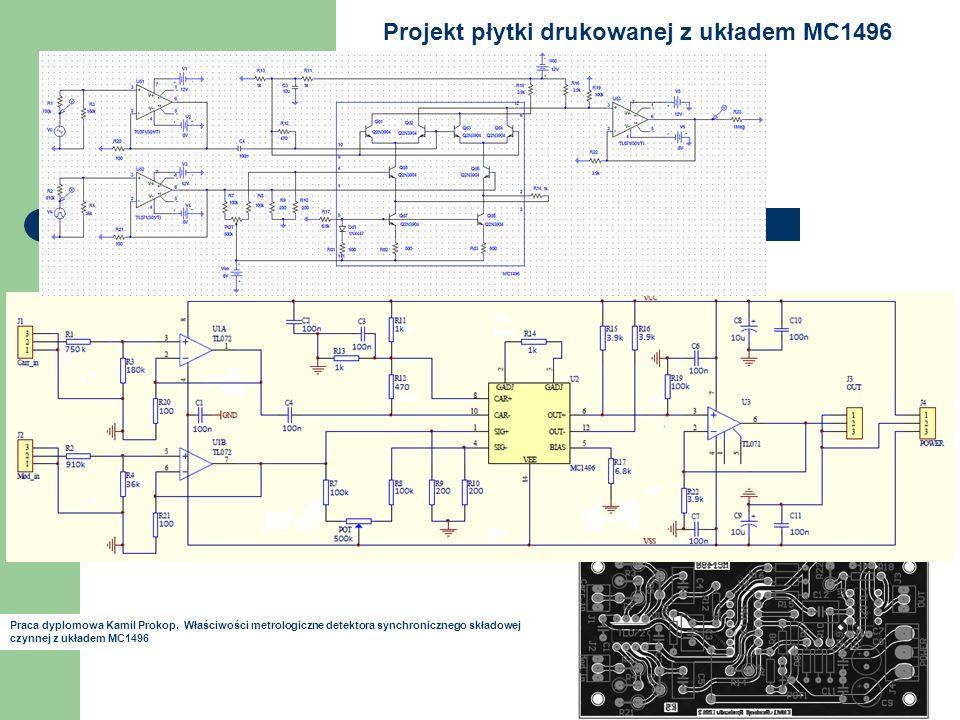 Projekt płytki drukowanej z układem MC1496 Praca dyplomowa Kamil Prokop, Właściwości metrologiczne detektora synchronicznego składowej czynnej z układem MC1496