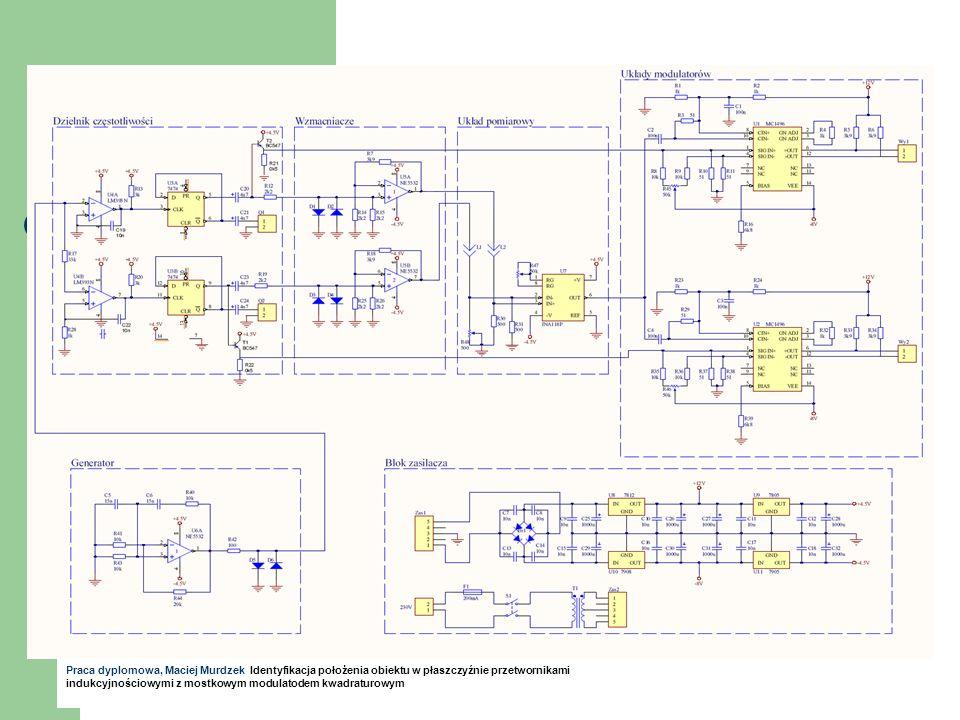 Identyfikacja położenia obiektu w płaszczyźnie przetwornikami indukcyjnościowymi z mostkowym modulatodem kwadraturowym Praca dyplomowa, Maciej Murdzek Identyfikacja położenia obiektu w płaszczyźnie przetwornikami indukcyjnościowymi z mostkowym modulatodem kwadraturowym