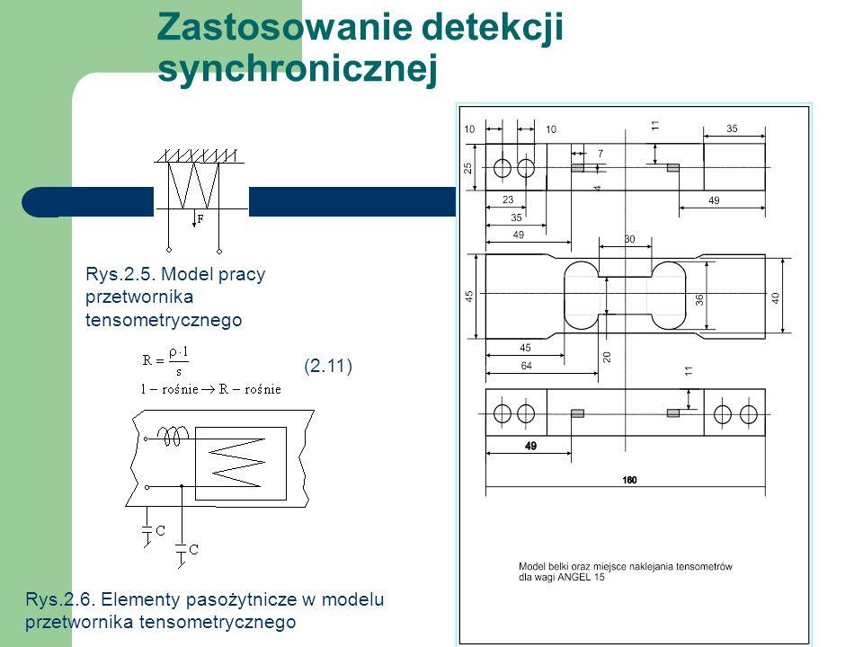 Zastosowanie detekcji synchronicznej Rys.2.5. Model pracy przetwornika tensometrycznego (2.11) Rys.2.6. Elementy pasożytnicze w modelu przetwornika te