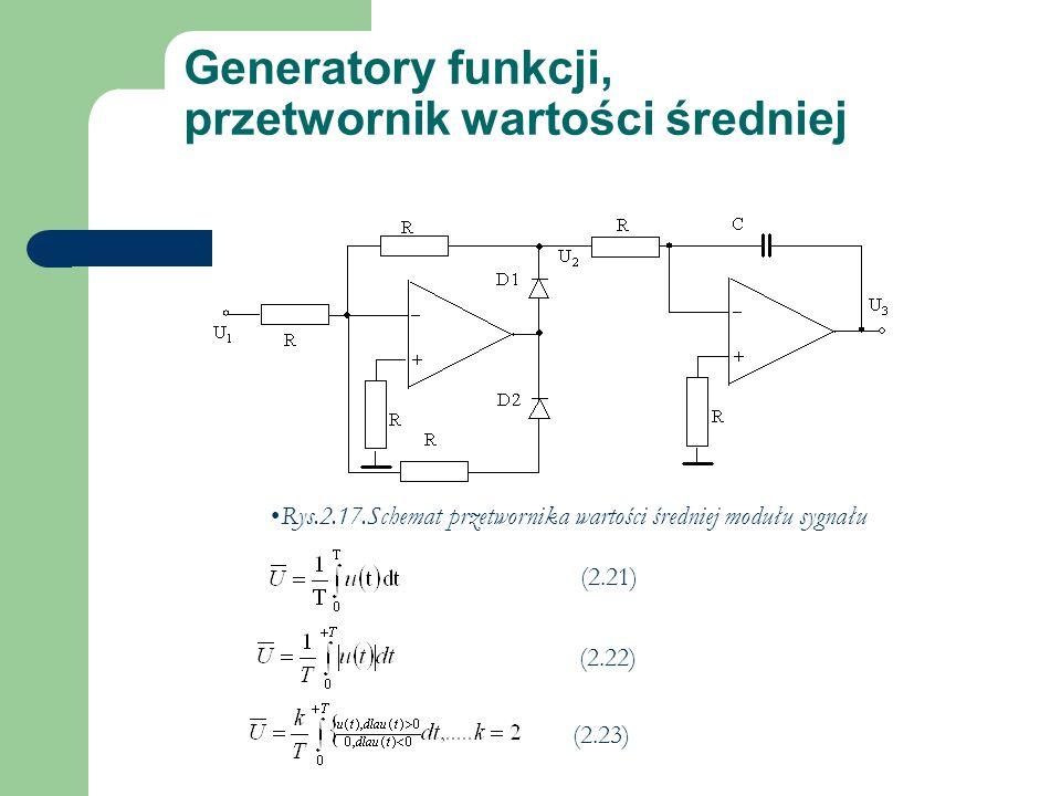 Generatory funkcji, przetwornik wartości średniej (2.21) Rys.2.17.Schemat przetwornika wartości średniej modułu sygnału (2.22) (2.23)