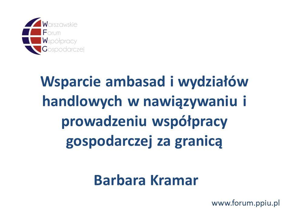 www.forum.ppiu.pl Wsparcie ambasad i wydziałów handlowych w nawiązywaniu i prowadzeniu współpracy gospodarczej za granicą Barbara Kramar