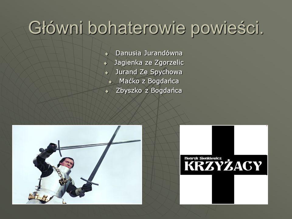 Główni bohaterowie powieści.  Danusia Jurandówna  Jagienka ze Zgorzelic  Jurand Ze Spychowa  Maćko z Bogdańca  Zbyszko z Bogdańca