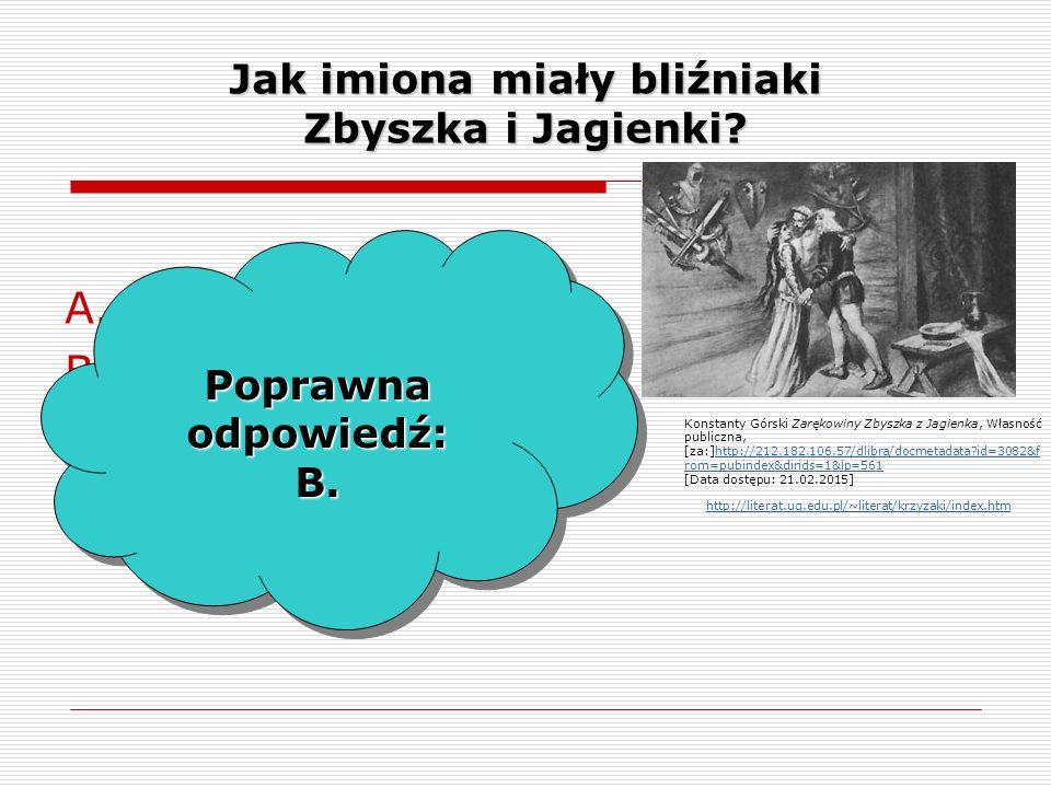 Jak imiona miały bliźniaki Zbyszka i Jagienki. A.Zych i Jurand.