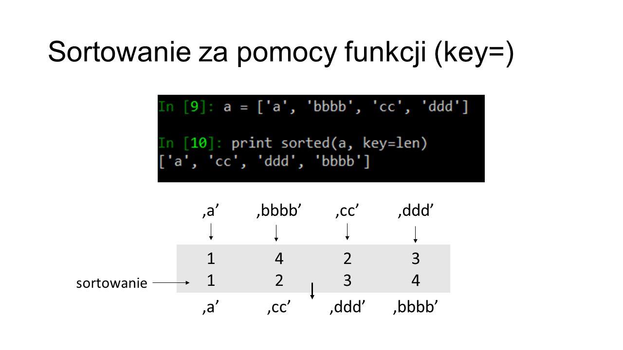 Sortowanie za pomocy funkcji (key=) 'a''bbbb''cc''ddd' 1111 4242 2323 3434 'a''cc''ddd''bbbb' sortowanie