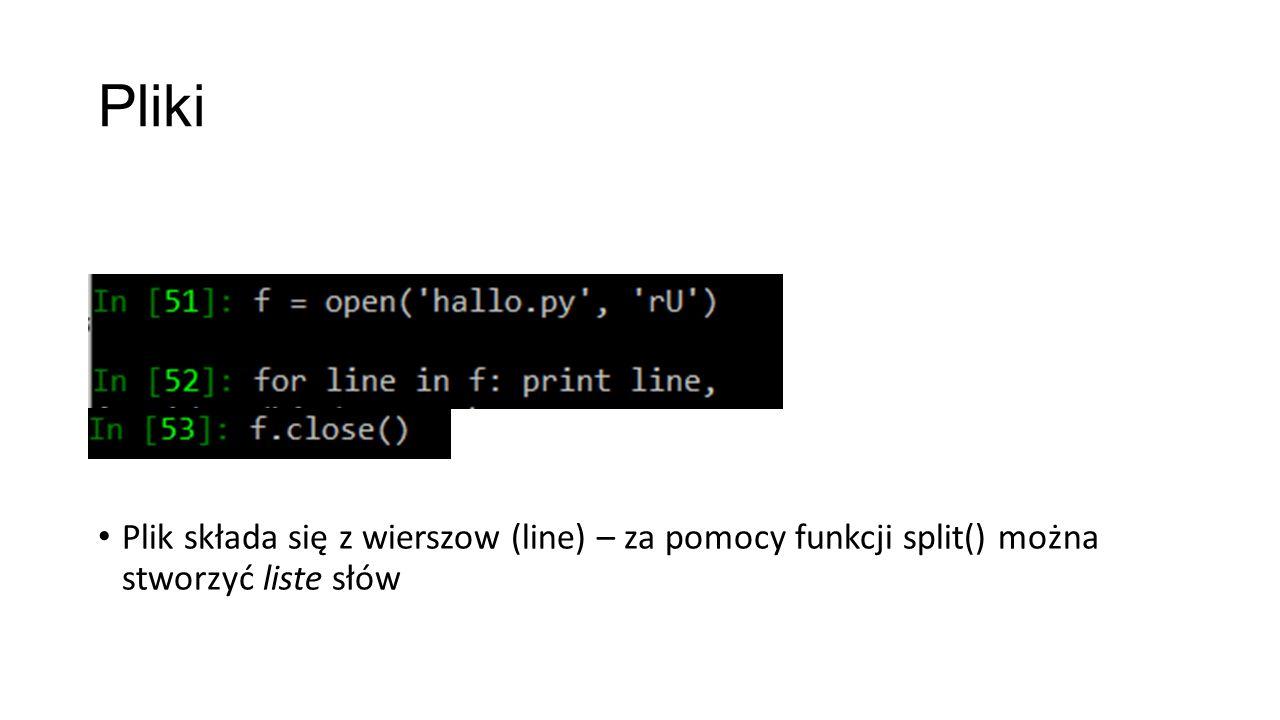 Plik składa się z wierszow (line) – za pomocy funkcji split() można stworzyć liste słów