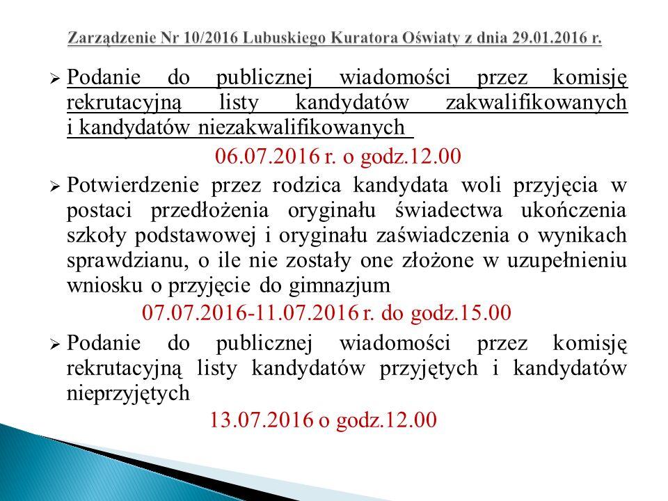  Podanie do publicznej wiadomości przez komisję rekrutacyjną listy kandydatów zakwalifikowanych i kandydatów niezakwalifikowanych 06.07.2016 r.