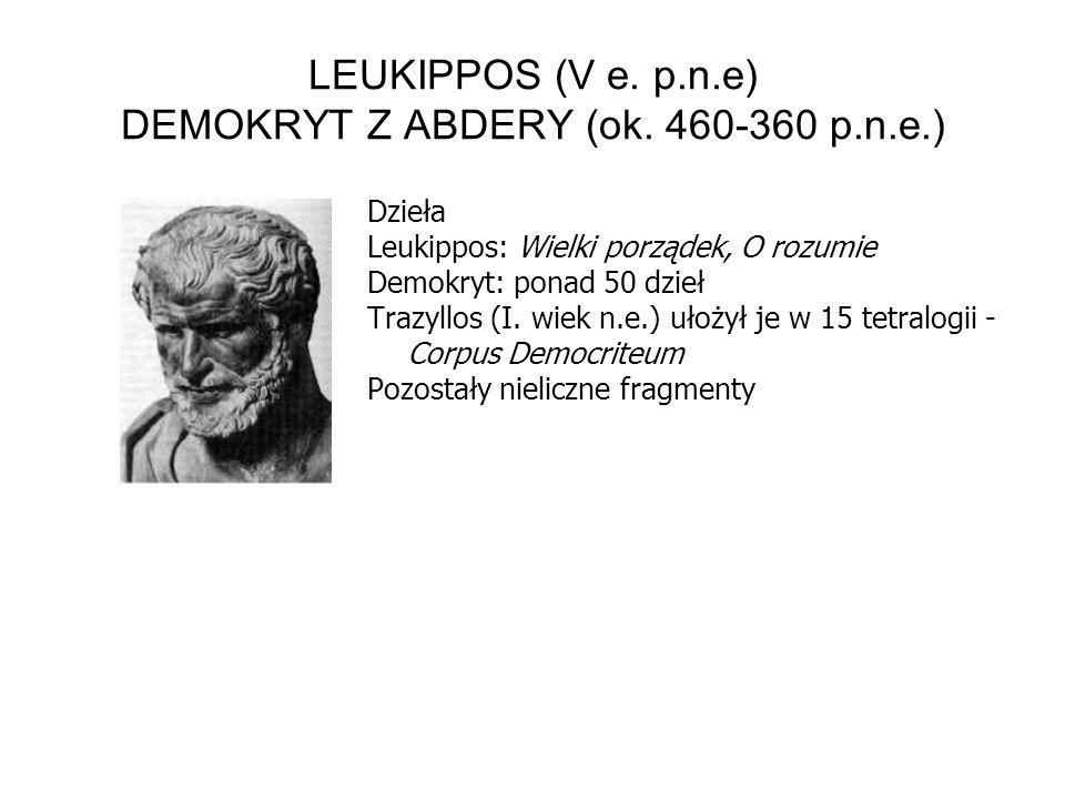 LEUKIPPOS (V e. p.n.e) DEMOKRYT Z ABDERY (ok.