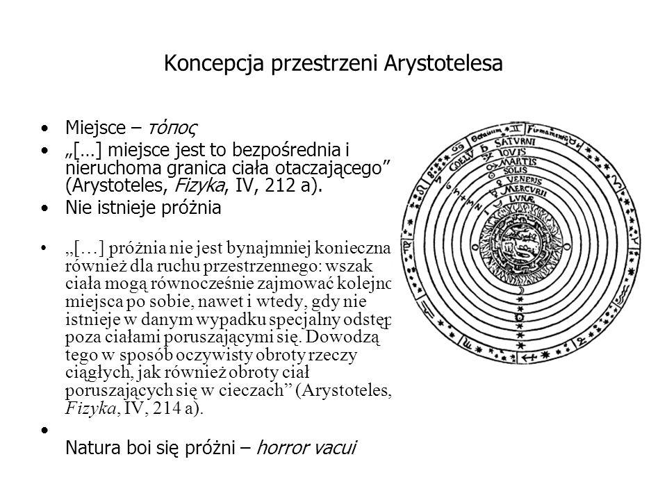 """Koncepcja przestrzeni Arystotelesa Miejsce – τόπος """"[…] miejsce jest to bezpośrednia i nieruchoma granica ciała otaczającego (Arystoteles, Fizyka, IV, 212 a)."""