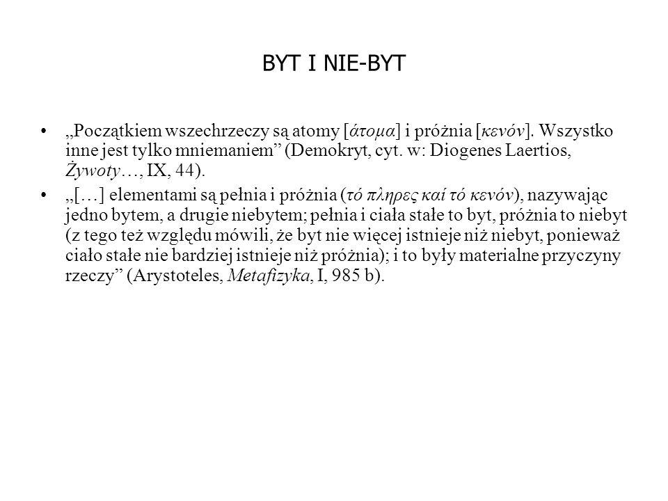 """BYT I NIE-BYT """"Początkiem wszechrzeczy są atomy [άτομα] i próżnia [κενόν]."""