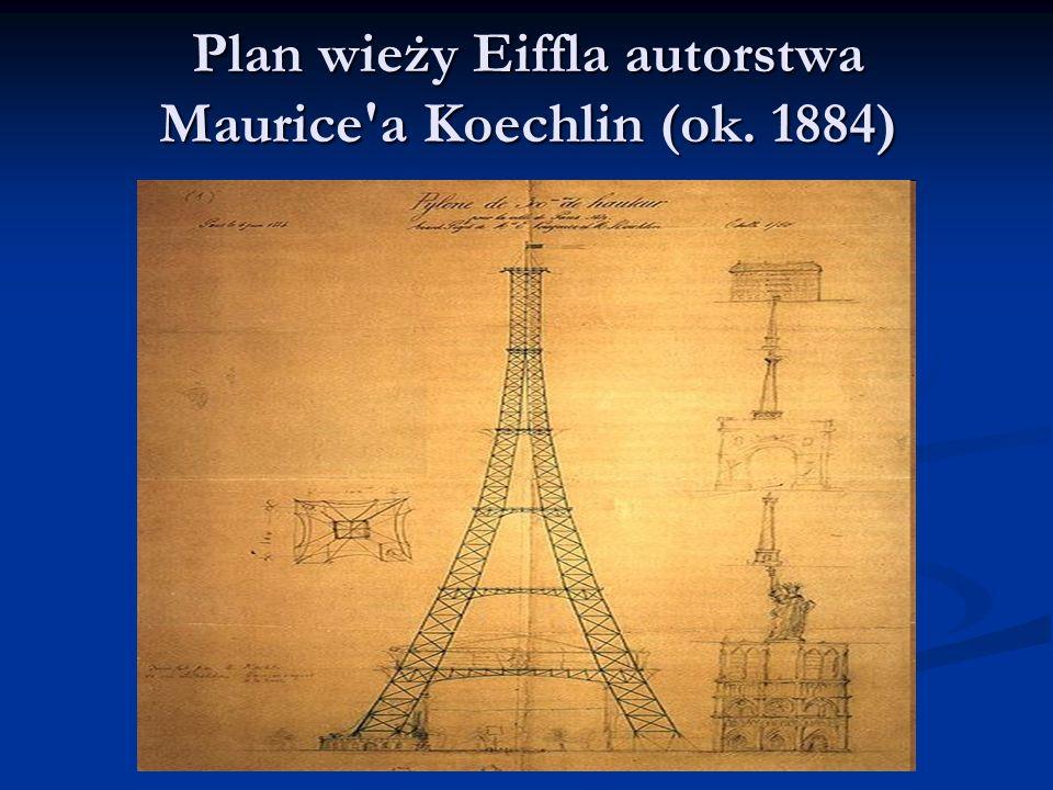 Plan wieży Eiffla autorstwa Maurice a Koechlin (ok. 1884)