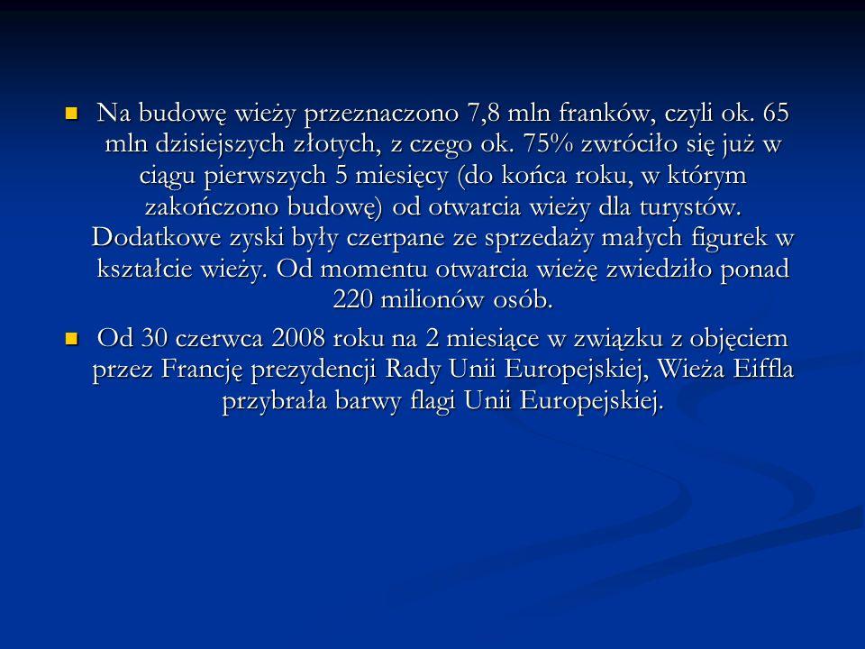 Na budowę wieży przeznaczono 7,8 mln franków, czyli ok.