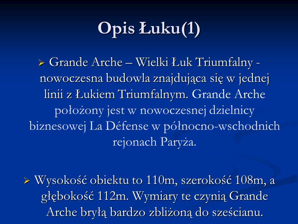 Opis Łuku(1)  Grande Arche – Wielki Łuk Triumfalny - nowoczesna budowla znajdująca się w jednej linii z Łukiem Triumfalnym.