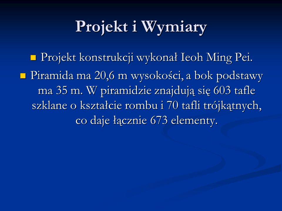 Projekt i Wymiary Projekt konstrukcji wykonał Ieoh Ming Pei.