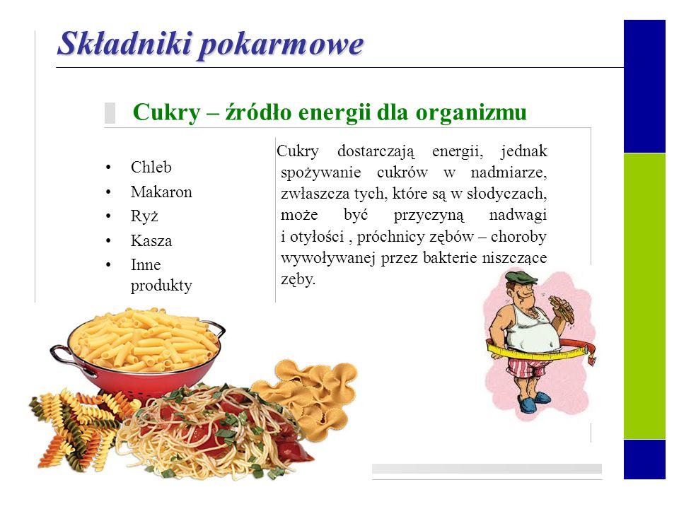 Składniki pokarmowe Każdy z nich ma ważne znaczenie dla organizmu człowieka