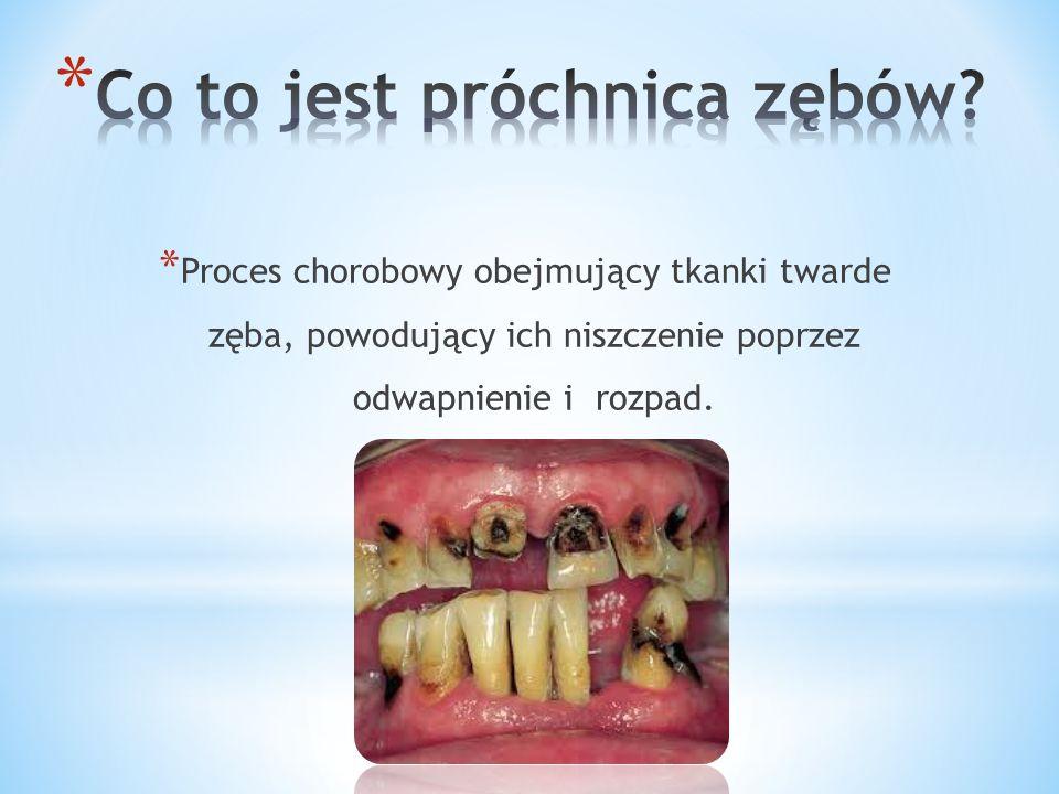 * Proces chorobowy obejmujący tkanki twarde zęba, powodujący ich niszczenie poprzez odwapnienie i rozpad.