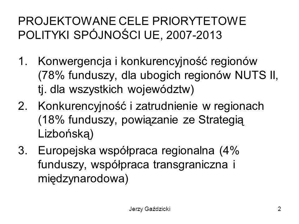 Jerzy Gaździcki3 PROJEKTOWANE CELE STRATEGICZNE NPR, 2007-2013 1.Utrzymanie gospodarki na ścieżce wysokiego wzrostu gospodarczego 2.Wzmocnienie konkurencyjności regionów i przedsiębiorstw oraz wzrost zatrudnienia 3.Podniesienie poziomu spójności społecznej, gospodarczej i przestrzennej