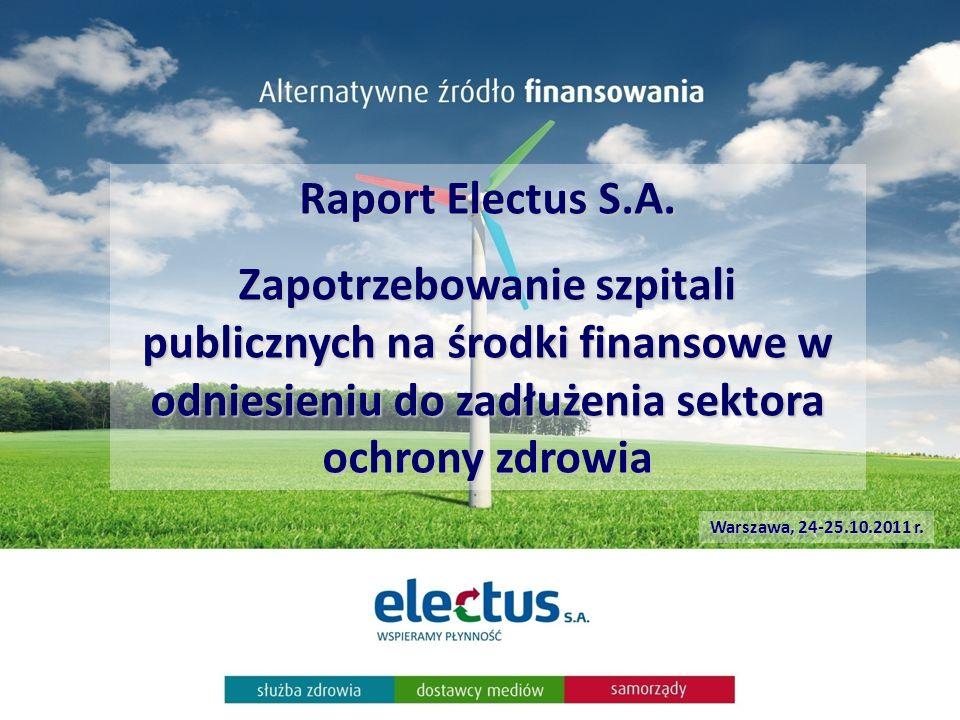 Raport Electus S.A. Zapotrzebowanie szpitali publicznych na środki finansowe w odniesieniu do zadłużenia sektora ochrony zdrowia Warszawa, 24-25.10.20