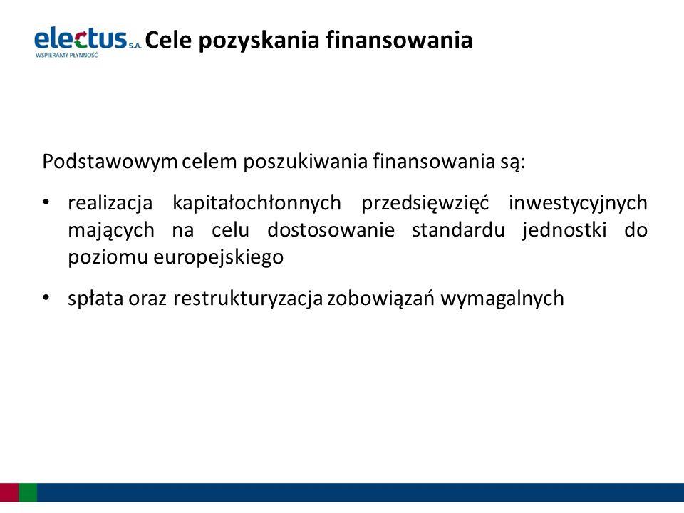 Podstawowym celem poszukiwania finansowania są: realizacja kapitałochłonnych przedsięwzięć inwestycyjnych mających na celu dostosowanie standardu jedn