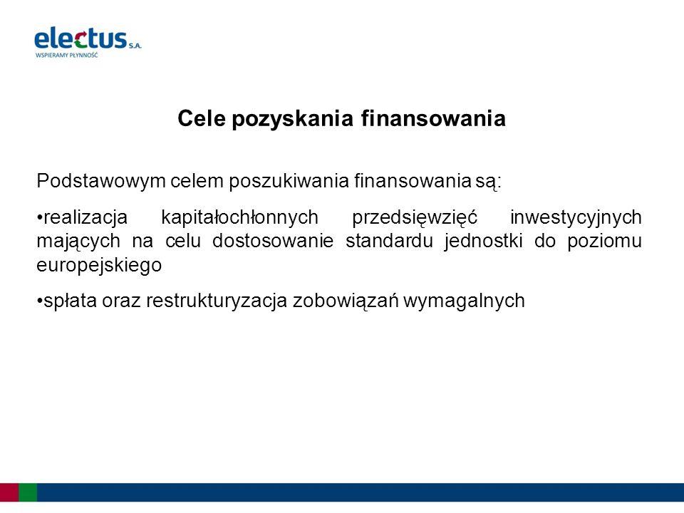 Podstawowym celem poszukiwania finansowania są: realizacja kapitałochłonnych przedsięwzięć inwestycyjnych mających na celu dostosowanie standardu jednostki do poziomu europejskiego spłata oraz restrukturyzacja zobowiązań wymagalnych Cele pozyskania finansowania