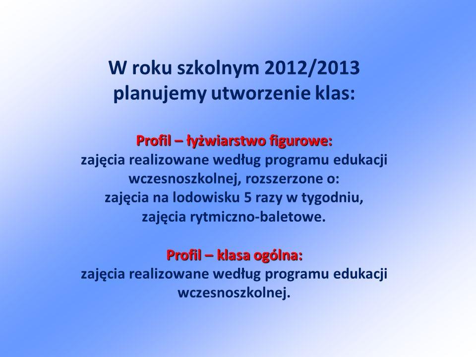 W roku szkolnym 2012/2013 planujemy utworzenie klas: Profil – łyżwiarstwo figurowe: zajęcia realizowane według programu edukacji wczesnoszkolnej, rozszerzone o: zajęcia na lodowisku 5 razy w tygodniu, zajęcia rytmiczno-baletowe.