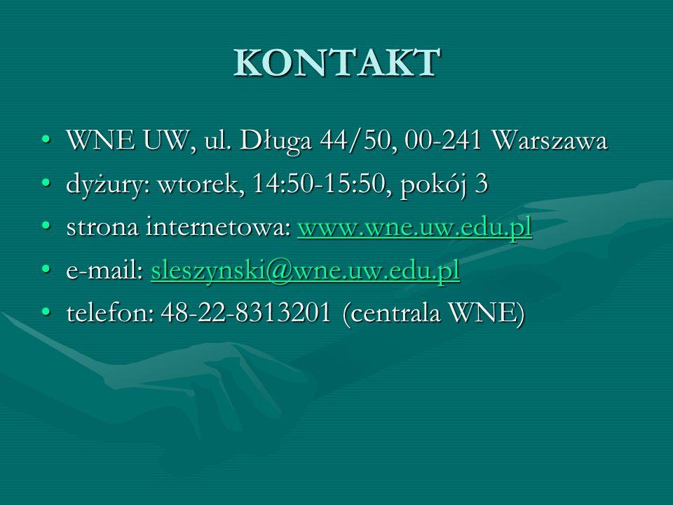 KONTAKT WNE UW, ul. Długa 44/50, 00-241 WarszawaWNE UW, ul.