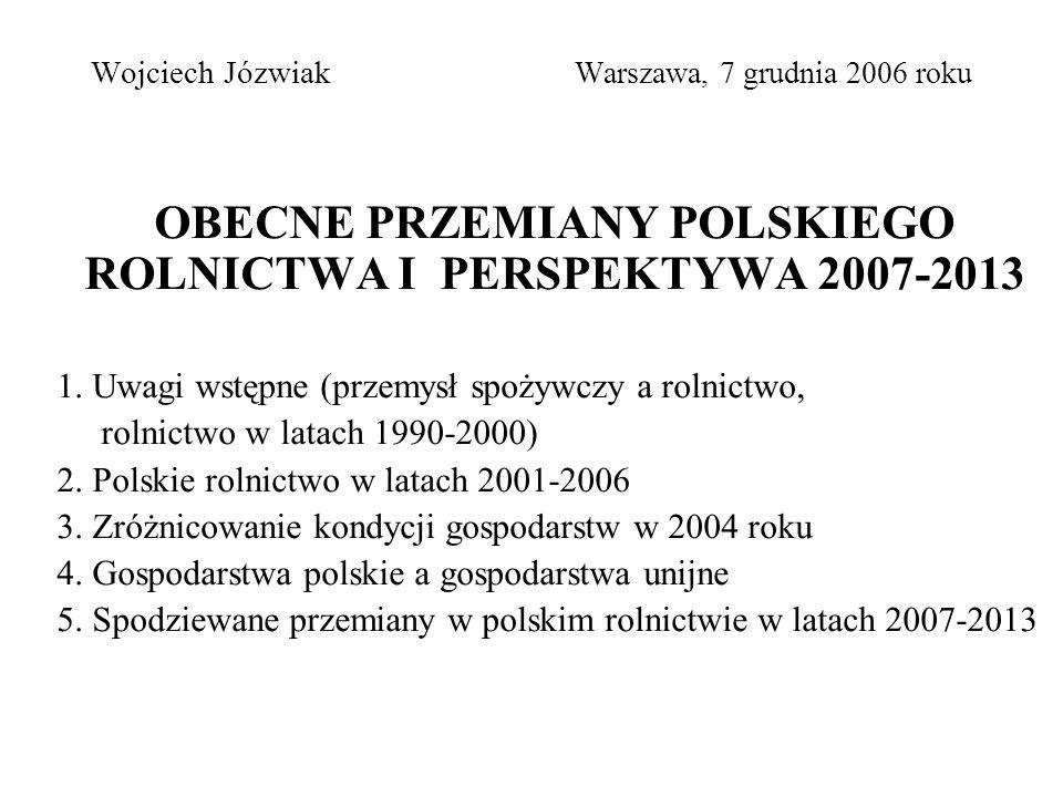 Wojciech Józwiak Warszawa, 7 grudnia 2006 roku OBECNE PRZEMIANY POLSKIEGO ROLNICTWA I PERSPEKTYWA 2007-2013 1.