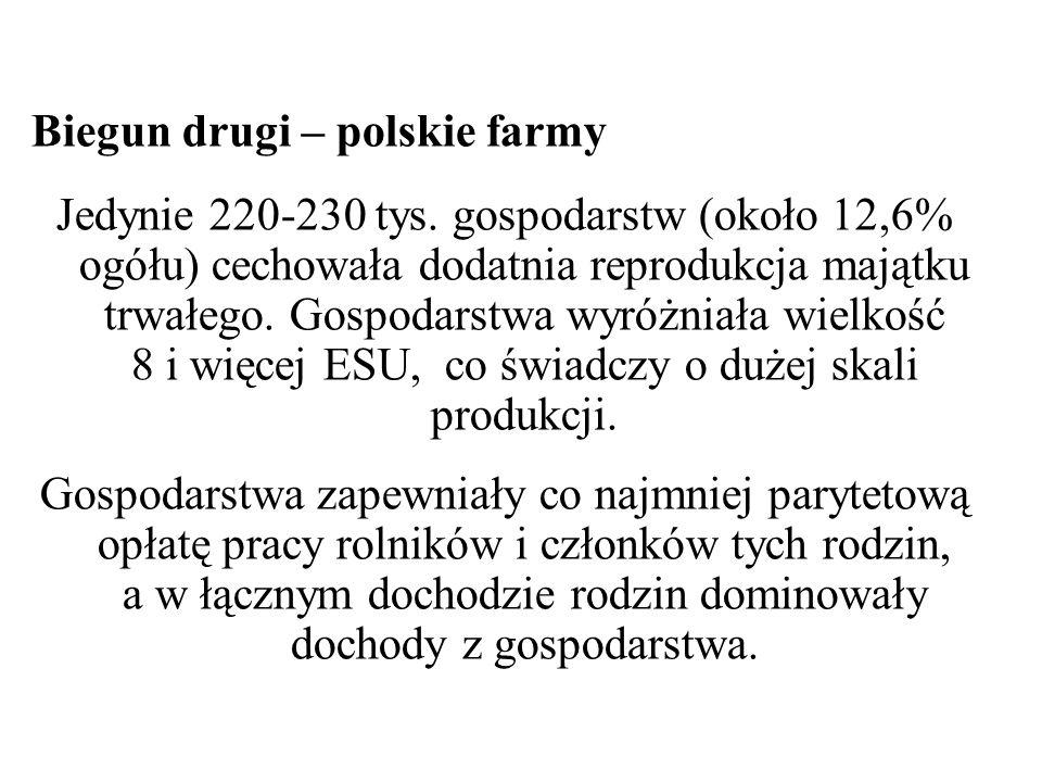 Tabela 4 Charakterystyka polskich gospodarstw rolnych z dochodem z gospo- darstwa większym od dochodów gospodarstw unijnych a (wielkości przeliczone na 1 gospodarstwo) Mierniki i wskaźniki Gospodarstwa Gospodarstwa polskie (gospodarstwa unijne = 100 ) unijne b polskie Wielkość gospodarstwa (ESU) 85,067,8 79,8 Zatrudnienie razem (AWU) Obszar użytków rolnych (ha) Wartość pasywów (tys.