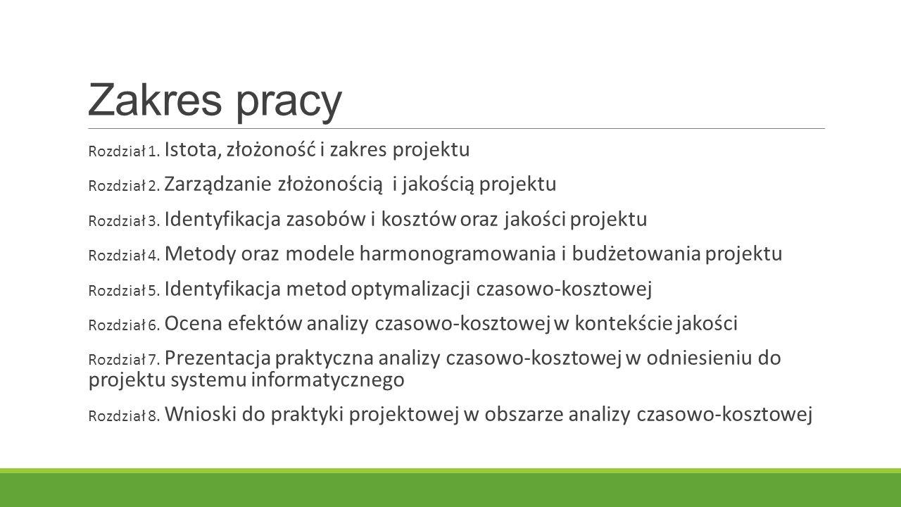Zakres pracy Rozdział 1. Istota, złożoność i zakres projektu Rozdział 2.
