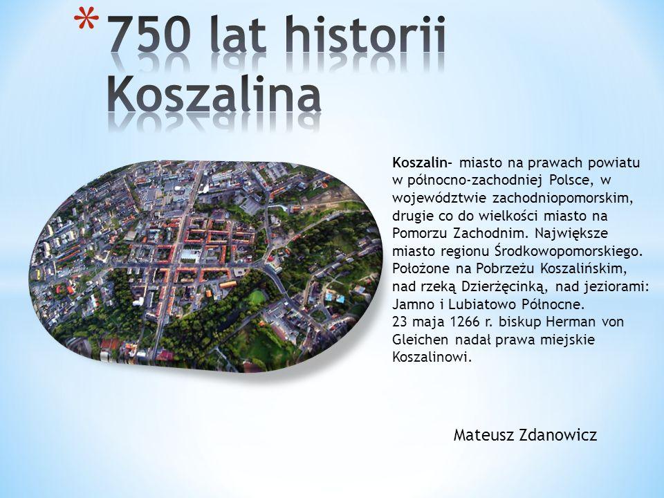 Flaga Koszalina- równoległe pasy jednakowej szerokości o barwach biało- niebieskich.