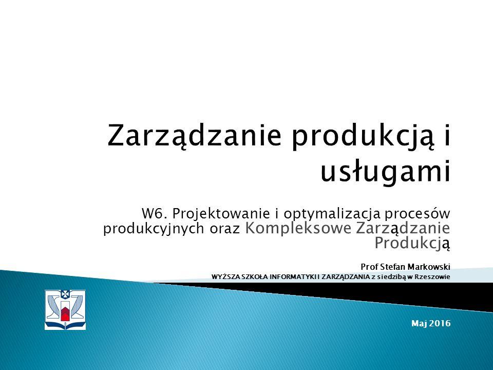 W6. Projektowanie i optymalizacja procesów produkcyjnych oraz Kompleksowe Zarządzanie Produkcją Prof Stefan Markowski WYŻSZA SZKOŁA INFORMATYKI I ZARZ