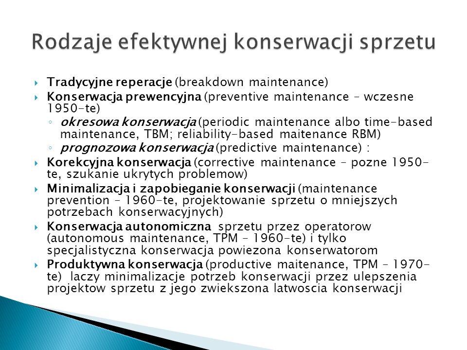 Tradycyjne reperacje (breakdown maintenance)  Konserwacja prewencyjna (preventive maintenance – wczesne 1950-te) ◦ okresowa konserwacja (periodic maintenance albo time-based maintenance, TBM; reliability-based maitenance RBM) ◦ prognozowa konserwacja (predictive maintenance) :  Korekcyjna konserwacja (corrective maintenance – pozne 1950- te, szukanie ukrytych problemow)  Minimalizacja i zapobieganie konserwacji (maintenance prevention – 1960-te, projektowanie sprzetu o mniejszych potrzebach konserwacyjnych)  Konserwacja autonomiczna sprzetu przez operatorow (autonomous maintenance, TPM – 1960-te) i tylko specjalistyczna konserwacja powiezona konserwatorom  Produktywna konserwacja (productive maitenance, TPM – 1970- te) laczy minimalizacje potrzeb konserwacji przez ulepszenia projektow sprzetu z jego zwiekszona latwoscia konserwacji